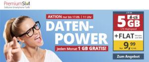 Gratis Datenvolumen bei PremiumSIM Allnetflat-Handytarif LTE M