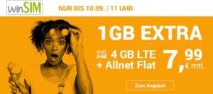 Tariftipp: winSIM Tarifaktion bis 10. September, 11 Uhr - 33 Prozent Datenvolumen gratis im LTE All 3GB Handytarif