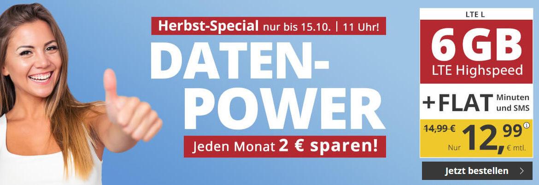 PremiumSIM Herbst Special - LTE Tarif L mit 25 Prozent Preisnachlass