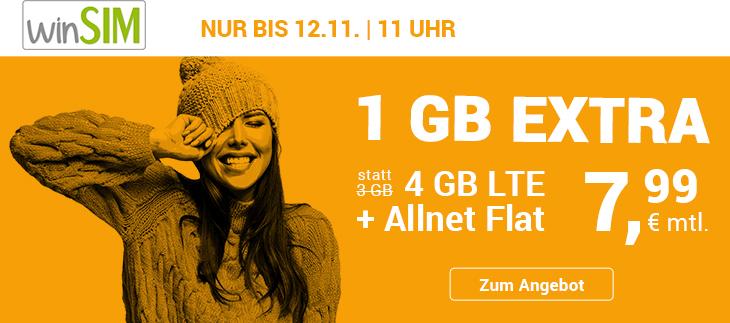 Tariftipp: Aktuelle Tarifaktion bei winSIM – Allnetflat Handyvertrag mit 4 GB LTE-Datenvolumen für 7,99 Euro