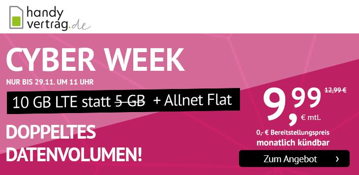 handyvertrag.de Sensations-Deal zur CyberWeek mit monatlich kündbarem und billigem Allnetflat Handyvertrag inklusive 10 GB LTE-Datenvolumen für nur 9,99 Euro monatlich