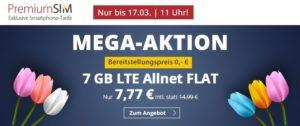 Mega Aktion zum Frühling bei PremiumSIM – 7 GB LTE Handyvertrag für nur 7,77 Euro monatlich
