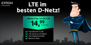 Tariftipp: Crash-Deal - Günstiger 10 GB Allnet Flat Handyvertrag im Telekom D1-Netz zum Sparpreis für nur 14,99 Euro