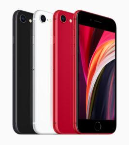 Das neue Apple iPhone SE in den Farben Schwarz, Weiß und PRODUCT RED