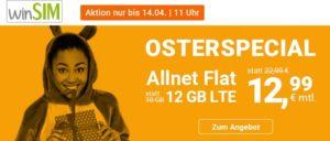 winSIM Oster-Special - 12 GB LTE Allnetflat Handyvertrag für 12,99 Euro monatlich