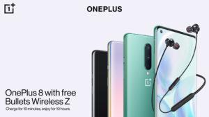 Das OnePlus 8 5G Smartphone mit kostenlosem Bullets Wireless Z Bluetooth-Headset