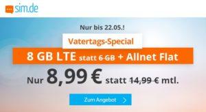 """""""Vatertags-Spezial"""" Aktionstarif bei sim.de – rund 40% Rabatt und 2 GB Datenvolumen kostenlos zusätzlich"""