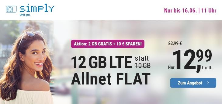 simply Tarifaktion im Juni 2020 - 10 GB Allnetflat Handyvertrag für nur 12,99 Euro monatlich und zusätzlich 2 GB LTE Datenvolumen kostenlos oben drauf