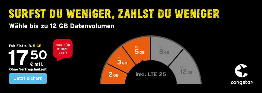 congstar Fair Flat Aktion - 5 GB Datenvolumen für 17,50 Euro im Monat