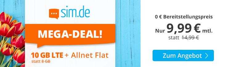 sim.de Mega-Deal - 10 GB Allnet-Flat Handytarif für nur 9,99 Euro monatlich