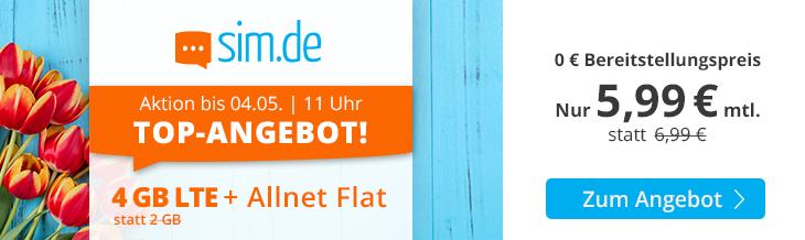 sim.de Top-Angebot - 4 GB Allnet-Flat Handytarif für nur 5,99 Euro monatlich