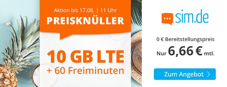 sim.de Preisknüller 10GB Handytarif für nur 6,66 Euro monatlich