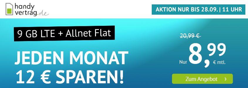 handyvertrag.de Aktionstarif - Allnet Flat Handytarif mit 9 GB LTE-Datenvolumen für nur 8,99 Euro monatlich